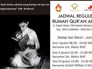 Jadwal Reguler Belajar Al-Qur'an RQA